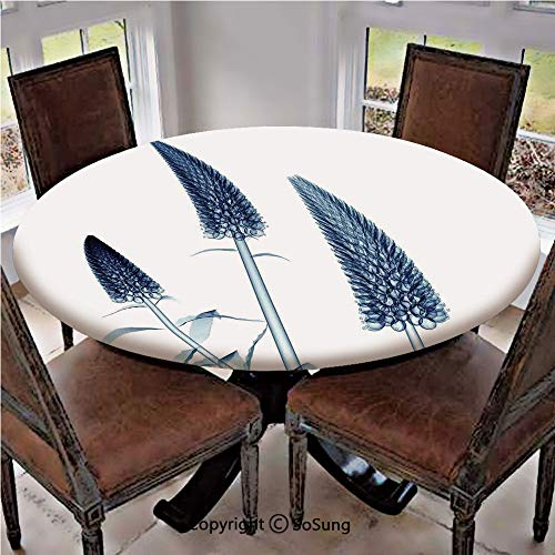 Elastic Edged Polyester Fitted Table Cover,Gooseneck Loosestrife Flower X rays Image Exotic Plants Blooms Artful Home,Fits up 40