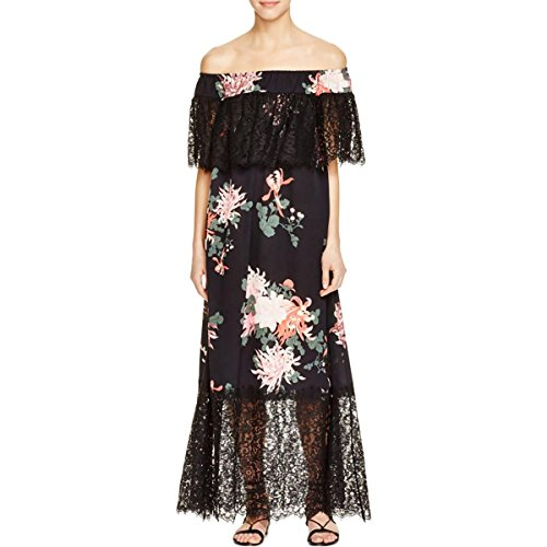 Boho-Chic Vacation & Fall Looks - Standard & Plus Size Styless - Rachel Zoe Womens Pila Floral Print Lace Inset Casual Dress Black