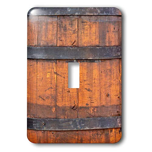 (3dRose Alexis Photography - Texture Wood - Image of an old wooden barrel with three metal bands. Rustic backdrop - Light Switch Covers - single toggle switch (lsp_306141_1))