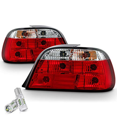 VIPMOTOZ 4PCs Red Lens Chrome OE-Style Tail Light Housing Lamp Assembly Replacement For 1995-2001 BMW E38 7-Series - CREE LED Reverse Bulbs, Driver and Passenger Side