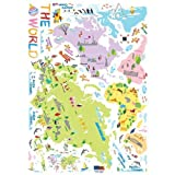 Easy Instant Decoration Wall Sticker Decal - Colorful World Map