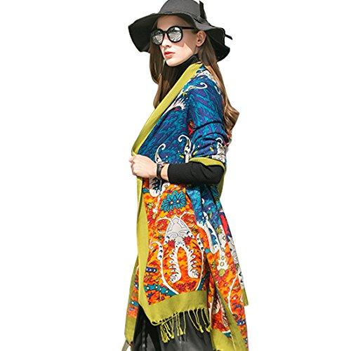 Dana Xu Warm Winter Shawls Women's Large Pashmina Scarf (blue&green)