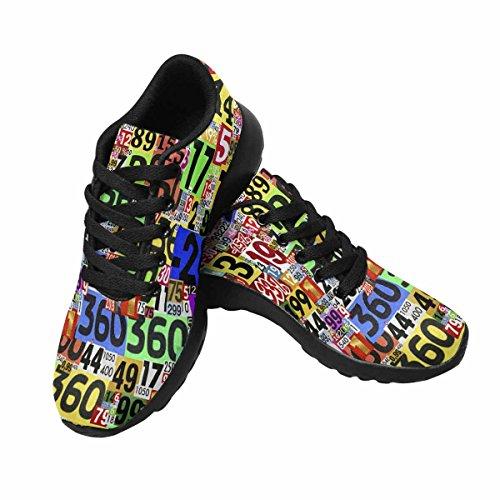 Interestprint Womens Jogging Running Sneaker Leggero Go Easy Walking Comfort Sport Scarpe Da Corsa Collage Di Numeri Ritagli Multi 1