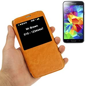 Crazy Horse Texture Leather Case with Call Display ID for Samsung Galaxy S5 / i9600 (Orange)