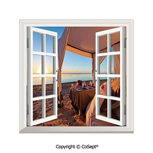 - SCOXIXI Removable Wall Sticker,Romantic Dinner Setting at Tropical Seashore at Sunset Celebration Couple,Window Sticker Can Decorate A Room(25.86x22.63 inch)