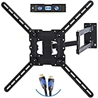 TV Wall Mount Fits most 19-55 LCD/LED/Flat Screens up to 66lb. Full Motion Swivel Articulating Arm. Tilt, 20 Extension Arm, VESA 600x400, HDMI Cable & Bubble Level