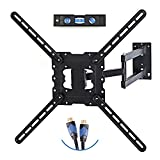 TV Wall Mount Fits Most 19''-55'' LCD/LED/Flat Screens Up To 66 lbs. Full Motion Swivel Articulating Arm. Tilt, 20'' Extension Arm, VESA 400x400, HDMI Cable And Bubble Level