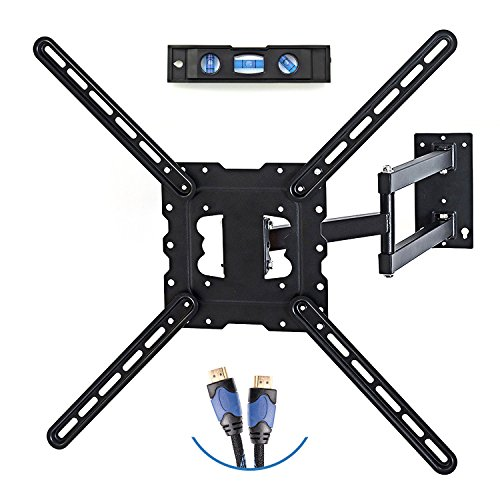 "Price comparison product image TV Wall Mount Fits most 19""-55"" LCD/LED/Flat Screens up to 66lb. Full Motion Swivel Articulating Arm. Tilt, 20"" Extension Arm, VESA 600x400, HDMI Cable & Bubble Level"