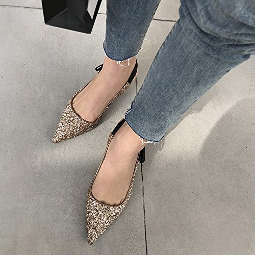 Talon Profilés Cuir Courts Talons pour Joker Véritable Épineuses Paillettes Mode Chaussures de Uniques Chaussures à gold Sandales Soirée Talons Bas Femmes DKFJKI vgY6wqv
