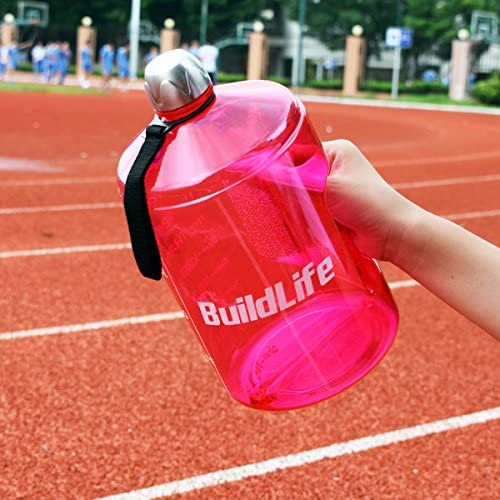 BuildLife 1 Gallon Water Bottle Motivational Fitness Workout with Time Marker/Drink More Daily/Clear BPA-Free/Large 128OZ /73OZ /43OZ Capacity 51kBLtVEq7L