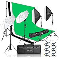 Emart 2000W Photography Studio Kit, 8.5 x 10 Feet Backdrop Stand Support System, 3 Muslin Backdrops, Softbox Umbrella Continuous Lighting for Photo Video Studio Shooting