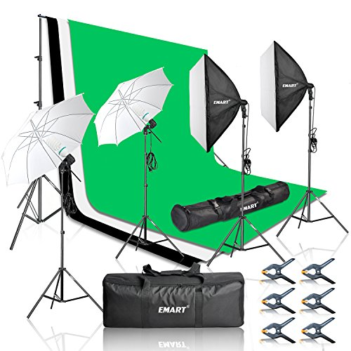 Emart 2000W Photography Vedio Studio Lighting Kit, Softbox Umbrella Continuous Photo Lighting, 8.5 x 10 Feet Backdrop Stand Support System, 3 Muslin Backdrops