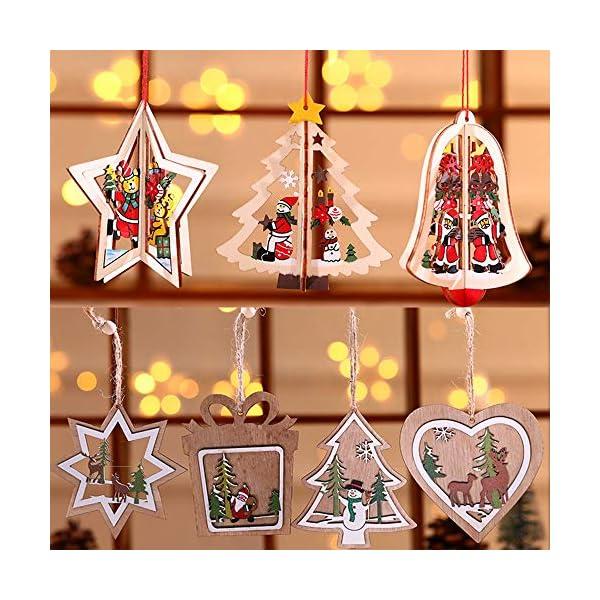 Bogoro 9 Pezzi Decorazioni Natalizie in Legno Albero di Natale Appeso Ornamento Decorazione Natalizia per Albero di Natale Babbo Natale e Snowman Ciondolo di Natale Fai da Te Ciondoli Legno Decorato 7 spesavip