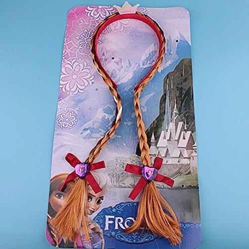 usongs Princess Anna wig braids hair hoop head ornaments children hair accessories girls wig braids headband