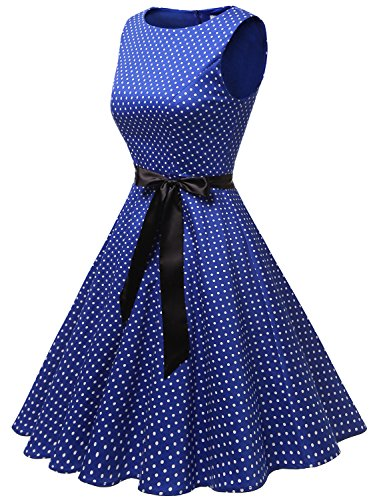 Elegante Hepburn Gardenwed Style Cocktail Audrey Robe Royal Small 60s Vintage Dot Blue 50s Rockabilly de Swing White WwfwEUqY