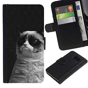 EuroTech - Samsung Galaxy S6 SM-G920 - Grumpy Cat Black White Siamese Whiskers - Cuero PU Delgado caso Billetera cubierta Shell Armor Funda Case Cover Wallet Credit Card
