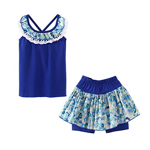 UWESPRING Kids Girls Flower Shorts Sets Lace Collar Tank Tee Tops and Skirts Pants Outfits 4T -
