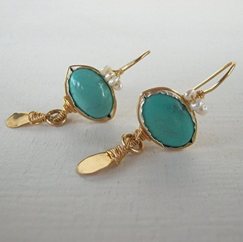 Turquoise and Pearl Gemstone Crown Drop Earrings in Gold Filled, Unique Bohemian Wedding Earrings by Yifat Bareket