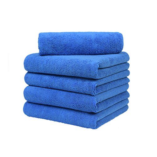 Carcarez Microfiber Car Cleaning Cloth Towels Super Absorbent Car Wash Towels Scratch Free Car Cleaning Towels Ultra Soft Auto Detailing Towels, 380gsm 16x16 Inch 5 Pack Blue ()