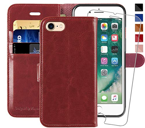 (iPhone 7 Wallet Case/iPhone 8 Wallet Case,4.7-inch,MONASAY [Glass Screen Protector Included] Flip Folio Leather Cell Phone Cover with Credit Card Holder for Apple iPhone 7/8)
