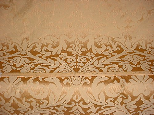27H3 - Shimmering Satiney Brass / Gold Floral Damask Designer Upholstery Drapery Fabric - By the Yard