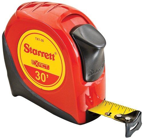 Starrett Exact KTX1-30-N ABS Plastic Case Red Measuring Pocket Tape, English Graduation Style, 30' Length, 1