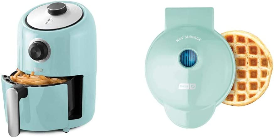Dash Compact Air Fryer Oven Cooker, 2 Quart - Aqua & DMW001AQ Machine for Individual, Paninis, Hash Browns, & other Mini waffle maker, 4 inch, Aqua