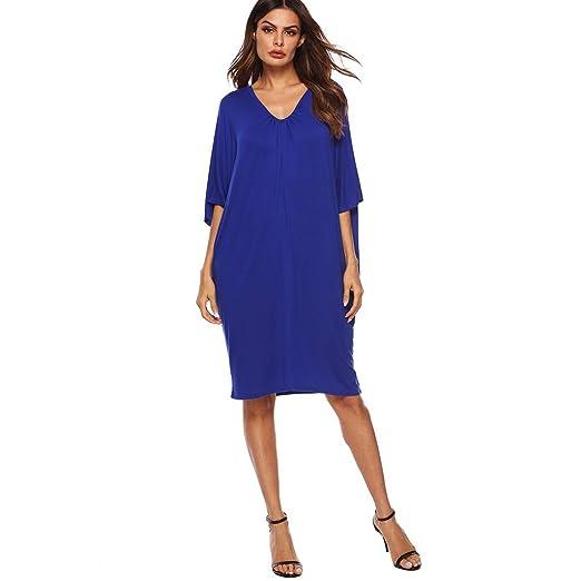 43994d16a26d Jentouzz Womens Casual Batwing Short Sleeve Deep V Loose Knee Length Dress  Midi Dress(S