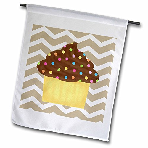 - 3dRose fl_110391_1 Chevron Stripe Chocolate Cupcake Garden Flag, 12 by 18-Inch