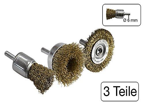 3 teiliges Set Rad, - Topf und Pinseldrahtbü rste 6 mm Schaftdurchmesser MS Warenvertrieb