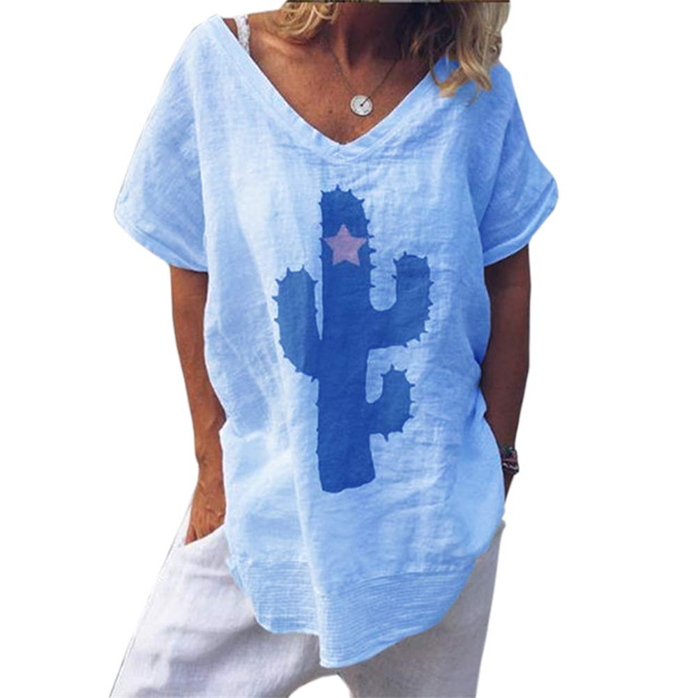 Kaktus Sleeveless Embroidered Blue Top With V Neck Size 2X