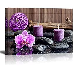"wall26 Canvas Prints Wall Art - Zen Stones with Purple Orchid and Calming Candles | Modern Wall Decor/Home Decoration Stretched Gallery Canvas Wrap Giclee Print. Ready to Hang - 16"" x 24"""