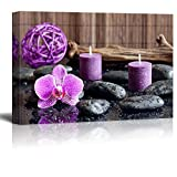 wall26 Canvas Prints Wall Art - Zen Stones with Purple Orchid and Calming Candles | Modern Wall Decor/Home Decoration Stretched Gallery Canvas Wrap Giclee Print. Ready to Hang - 24'' x 36''