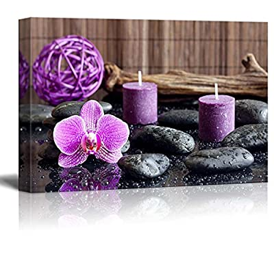Canvas Prints Wall Art - Zen Stones with Purple Orchid and Calming Candles | Modern Wall Decor/Home Decoration Stretched Gallery Canvas Wrap Giclee Print. Ready to Hang - 32