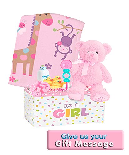 Welcome Baby Girl Gift Basket with Genuine My First Teddy, Color: Pink,