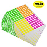 ONUPGO Pack of 2240 Round Color Coding Labels Circle Dot Stickers, 3/4'' Fluorescent Dot Labels Sticker, Bright Neon Colors Label (Assorted Neon Colors - (Pink, Green, Red, Yellow))