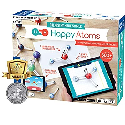Happy Atoms Magnetic Molecular Modeling Introductory Set | Intro To Atoms, Molecules, Bonding, Chemistry | Create 508 Molecules | 73 Activities | Plus Free Educational App For Ios, Android, Kindle: Toys & Games