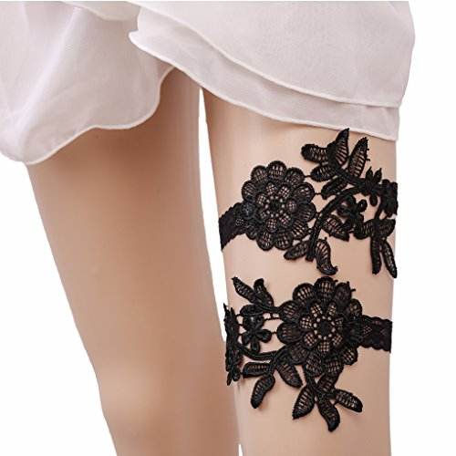 Bueer 2PC Wedding Bridal Lace Garter Set Keepsake Toss Tradition Vintage (2-Black Lace (Toss Garter Set)