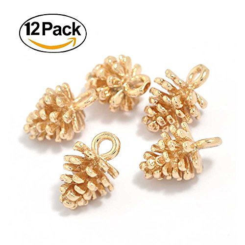 12PCS Gold Plated Brass Small Pine Cones Charms Pendant Accessories Bulk Lots for Jewelry (Brass Cone)