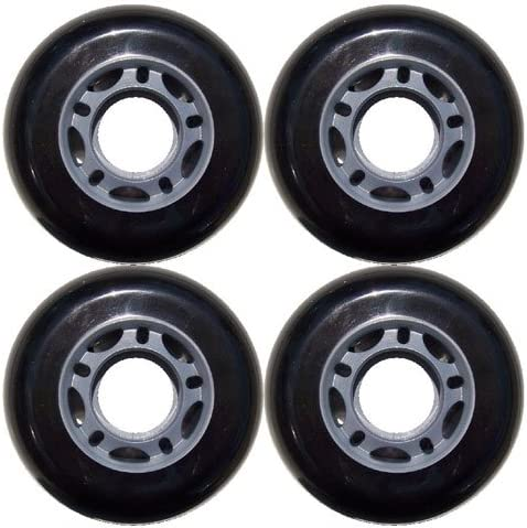 Inline Skate Replacement Wheels 70mm 82A グレー/黒 4 Pack