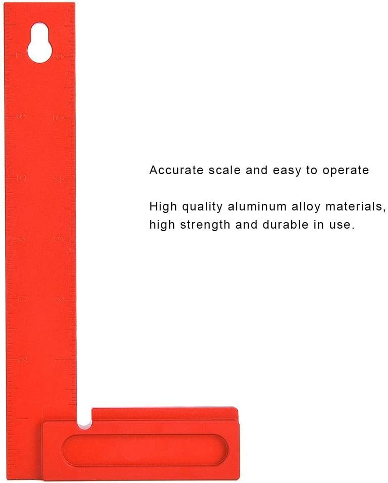 Meiyya Center Scribe Square rechtwinkliges Lineal Aluminiumlegierung 90 Grad L-f/örmiges Holzbearbeitungs-Tischlerwerkzeug 0-200 mm Right Angle Ruler