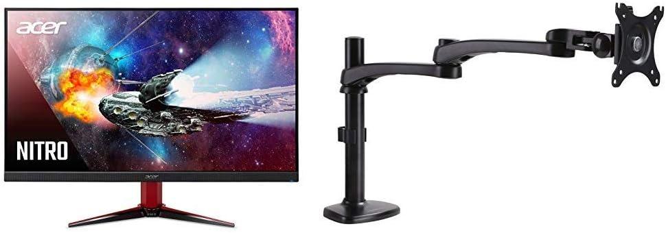 "Acer Nitro VG271 Pbmiipx 27"" Full HD (1920 x 1080) IPS Monitor with AmazonBasics Single PC Monitor Stand - Modular Arm Mount, Aluminum Bundle"