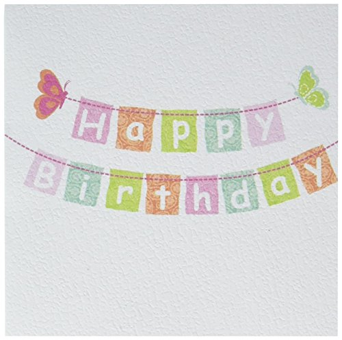 C.R. Gibson Butterfly 'Happy Birthday' Gift Enclosure Cards, 3.5 x 0.1 x 3.3 inches, 2 pieces (Matches Enclosure Card)