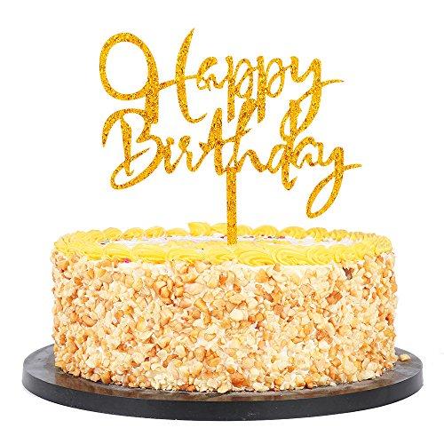 (QIYNAO Plastic Happy Birthday Cake Topper - Birthday Party Decoration Supplies)