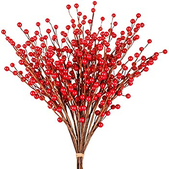 Whaline 12 Pack Red Berry Twig Stem, Artificial Burgundy Berry Picks for Christmas Tree Decorations, Crafts, Wedding, Holiday Home Decor