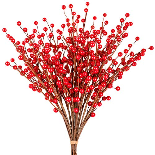 Whaline 12 Pack Red Berry Twig Stem, Artificial Burgundy Berry Picks for Christmas Tree Decorations, Crafts, Wedding, Holiday Home Decor (Decoration Tree Christmas Crafts)