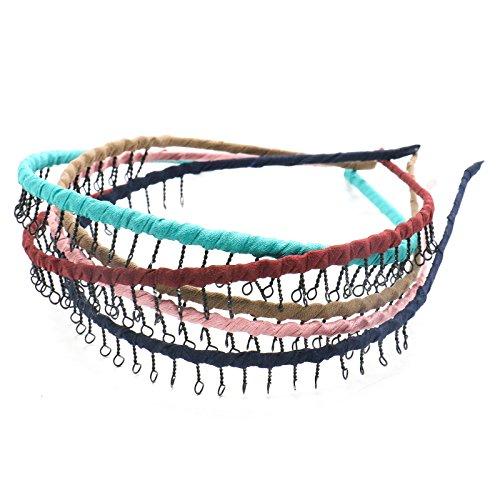MAISHO 5 Colors Vintage Metal Headband with Teeth Comb Hair