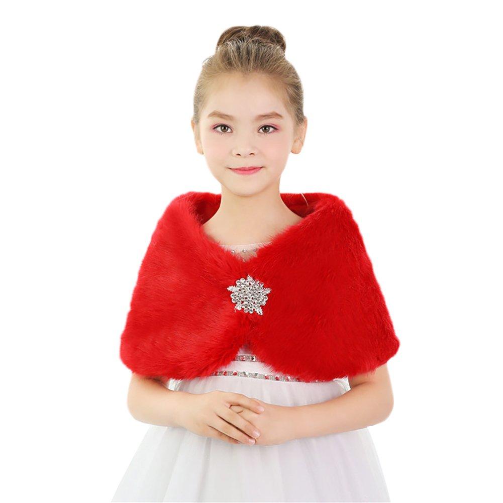 Insun Girls Faux Fur Cape Princess Winter Shoulder Cape For Girls