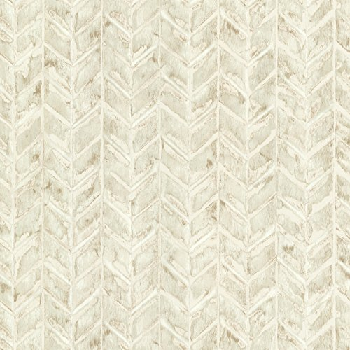 Warner HZN43064 Foothills Herringbone Texture Wallpaper, Beige ()