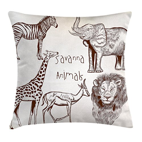 Ambesonne Safari Throw Pillow Cushion Cover, Collection of Tropic African Asian Wild Savannah Animals Lion Giraffe Zebra Graphic, Decorative Square Accent Pillow Case, 28 X 28 Inches, Cream - Wild Giraffe Chair Animal